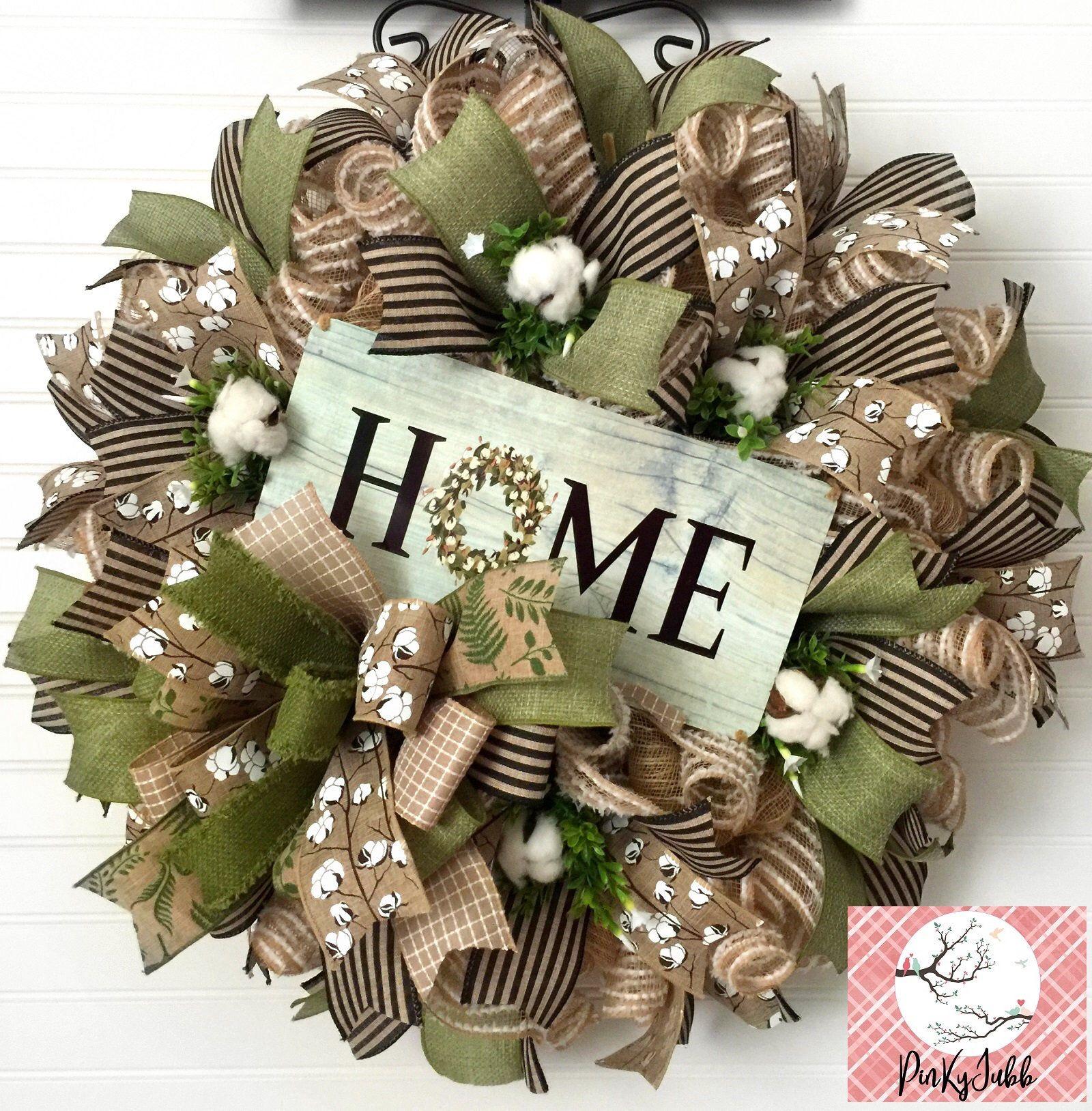 Photo of Everyday wreath, rustic burlap wreath, deco mesh wreath.