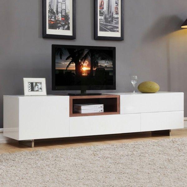 Avery White Lowline Tv Entertainment Unit Embedded Walnut Shelf