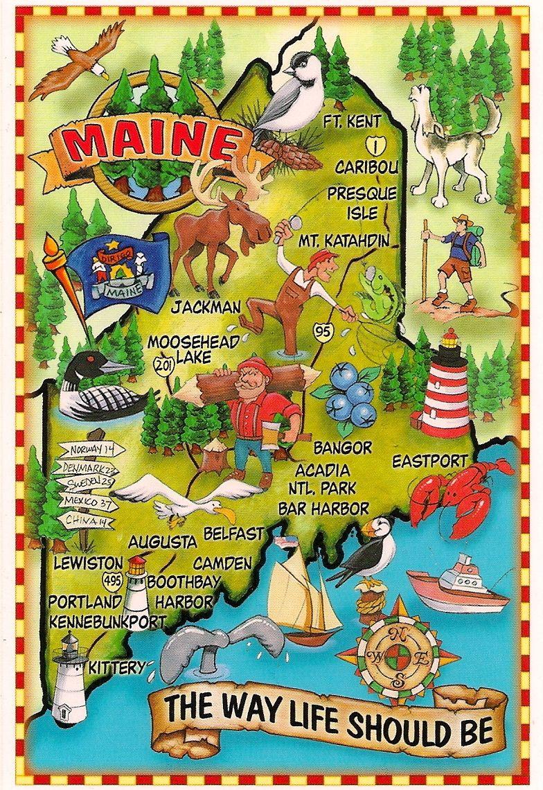 Maine Map Card Sent Via Postcrossing Maine Map Maine Travel