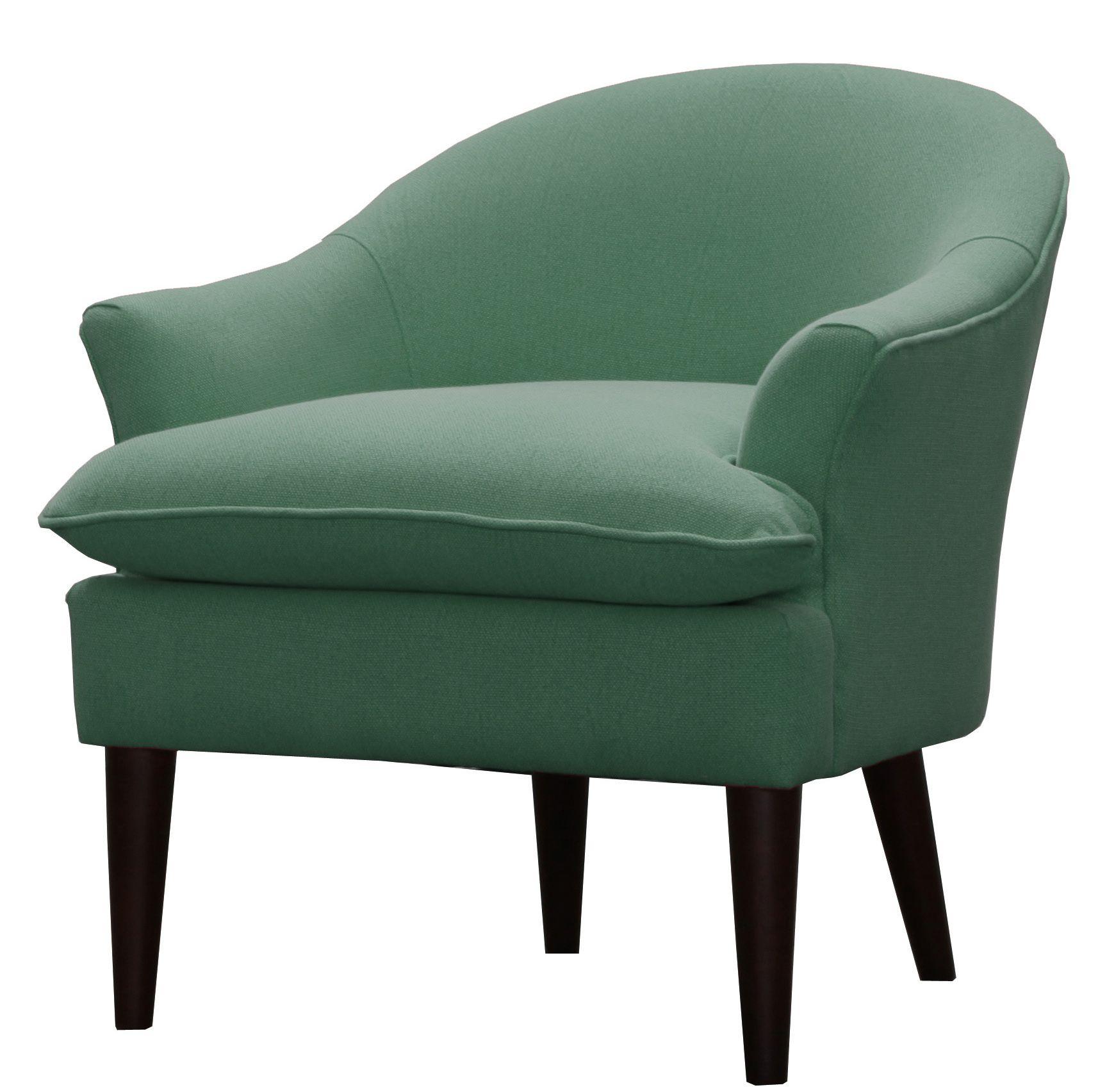 Brenda Fabric Arm Chair W Espresso Legs In Sea Green Npd