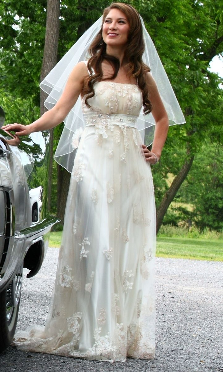 Satin and Vintage Inspired Gold Lace Wedding Dress - Available in Every Color