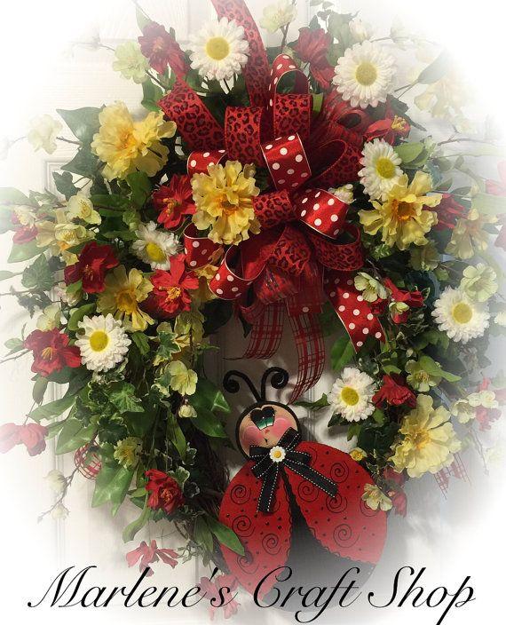 Lady Bug Spring/Summer Wreath/ ladybug burlap by MarlenesCraftShop