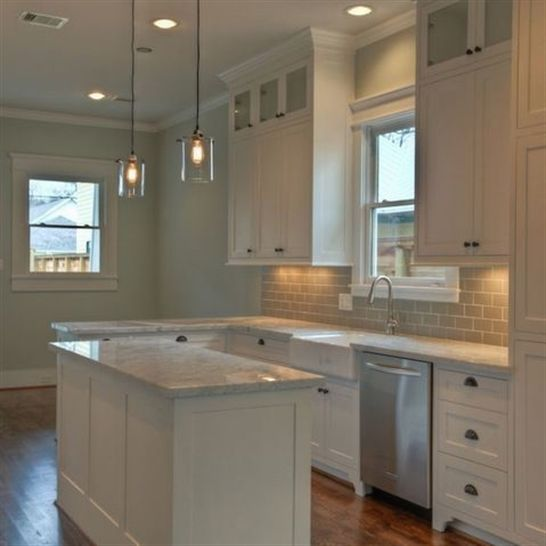 Kitchen Cabinets Look Like Furniture: White Kitchen. I Like The Glass On The Upper Cabinet
