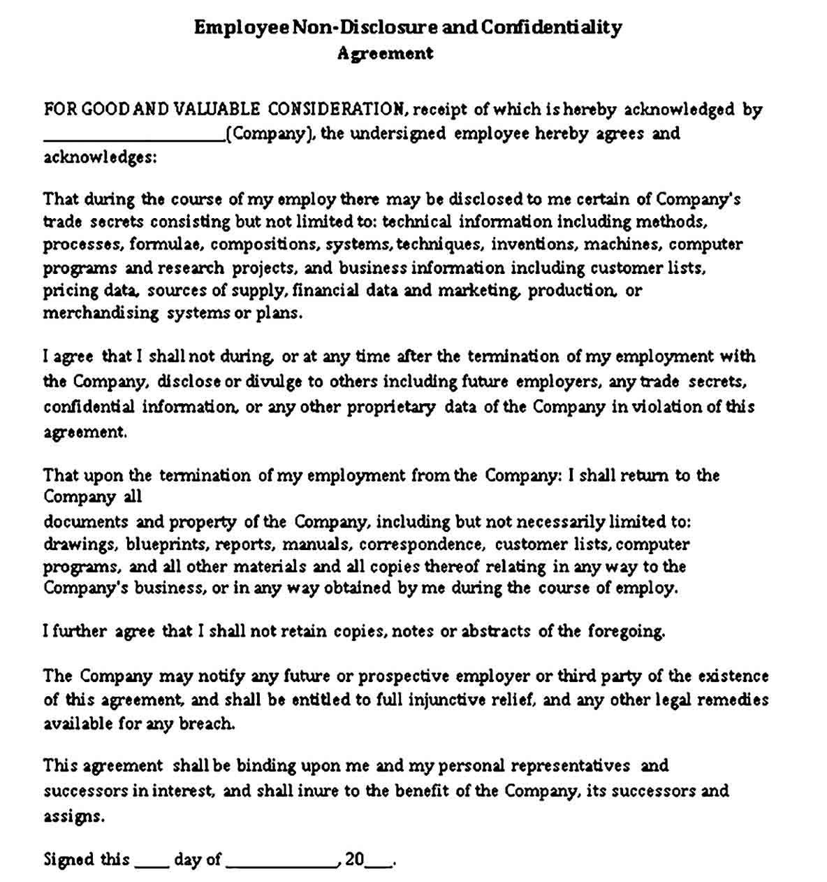 Sample Standard Non Disclosure Agreement Template Non Disclosure Agreement Disclosure Agreement Employment non disclosure agreement template