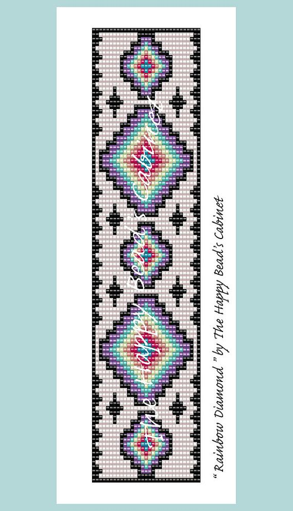 Bead Loom Pattern Rainbow Diamond INSTANT DOWNLOAD PDF Custom Bead Loom Patterns For Beginners
