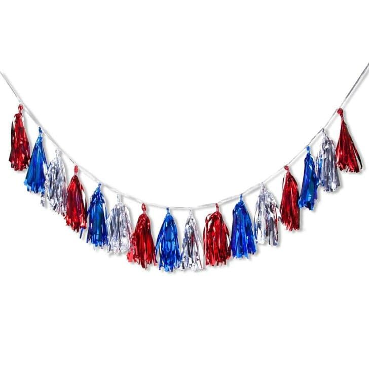 Pin for Later: The Best Target Fourth of July Decor Under $25  Red, White and Blue Tassel Garland ($4)