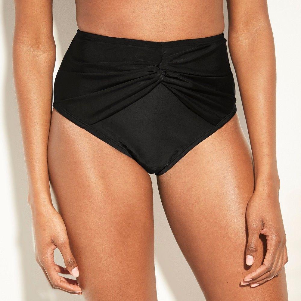 a144b9bb9 Women s Full Coverage Twist Front High Waist Bikini Bottom - Kona Sol Black  L