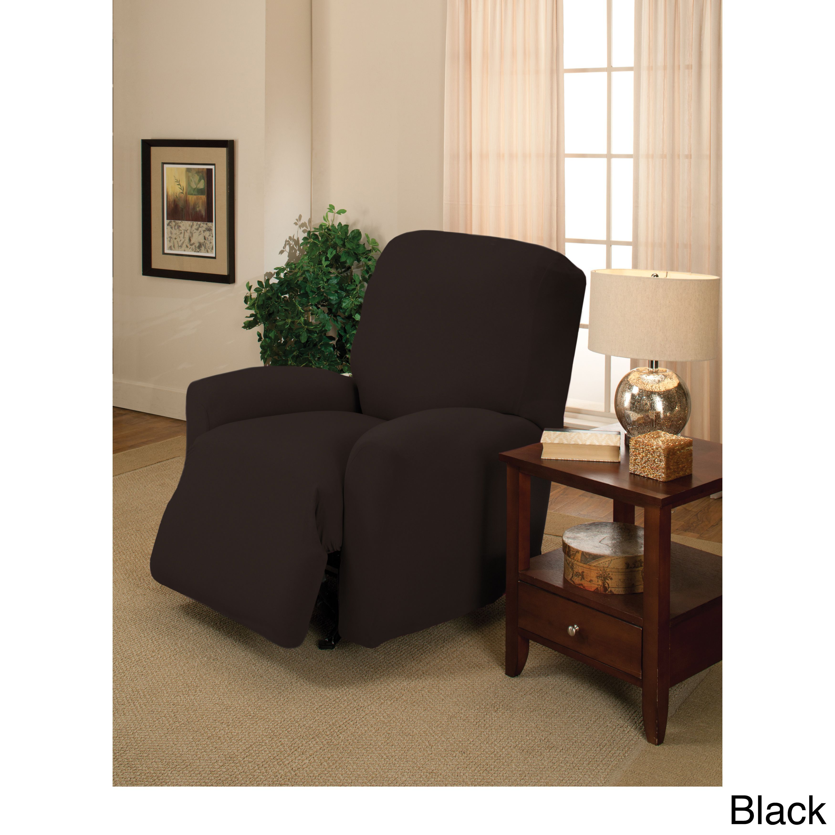 madison large stretch jersey recliner slipcover navy blue solid