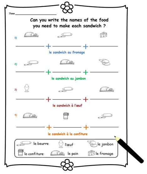 Printable For Learning French Food Words Print For Language