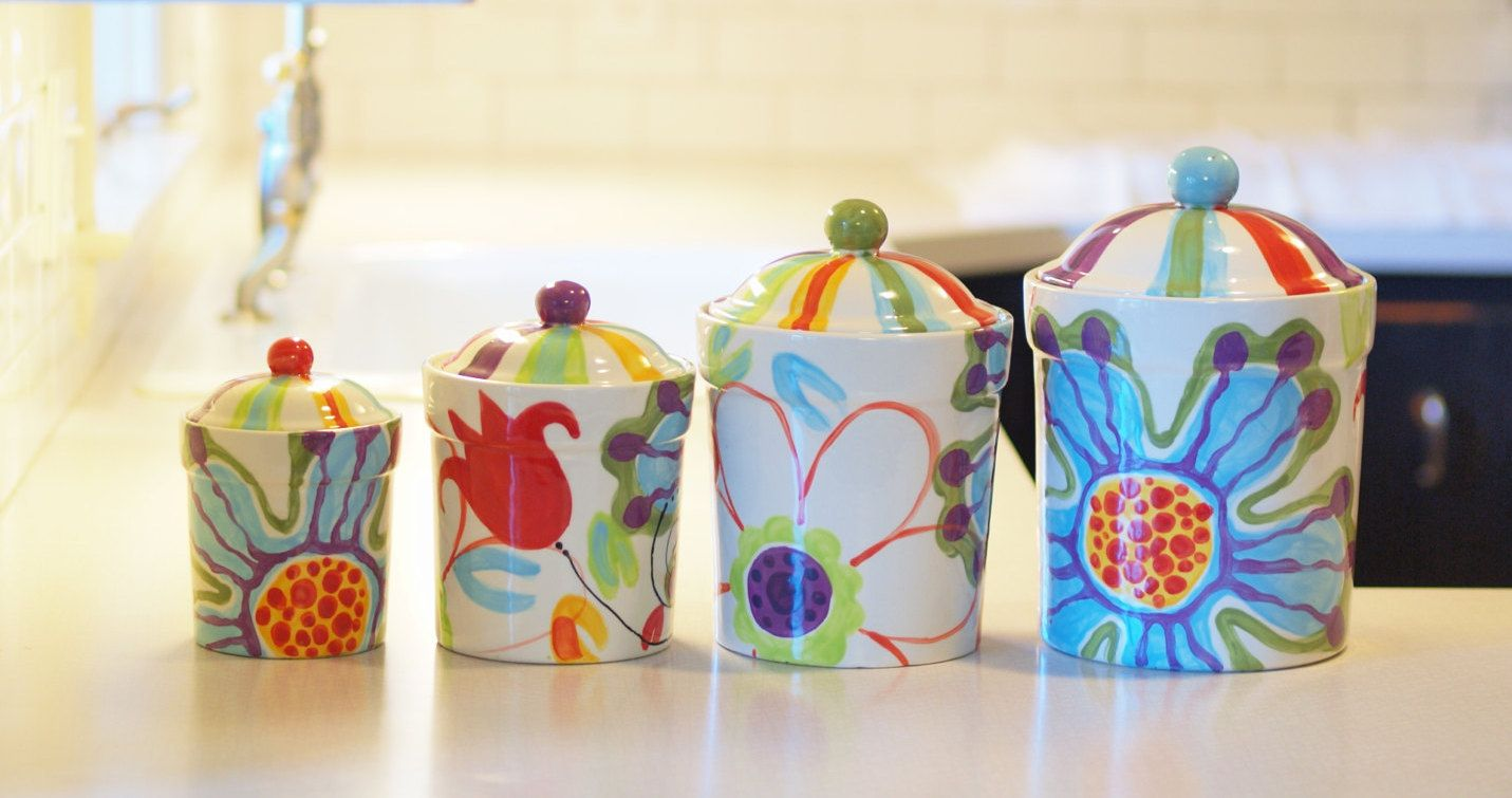 Kitchen Canister Set Fl Pottery Canisters Jubilation Colorful Whimsical Hy By Romyandclare On