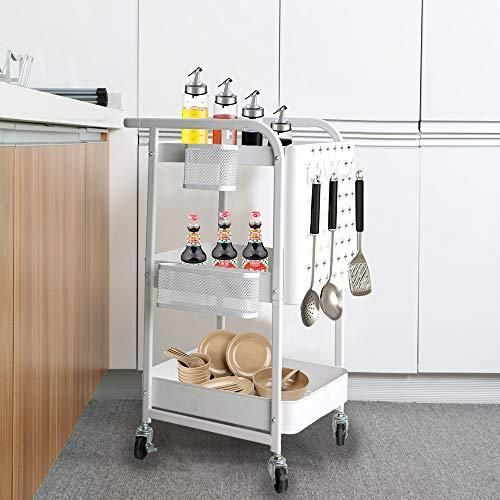 Lispery Metal Kitchen Storage Cart On Wheels 3 Tier Rolling Kitchen Cart With Baskets Service Cart With Rem In