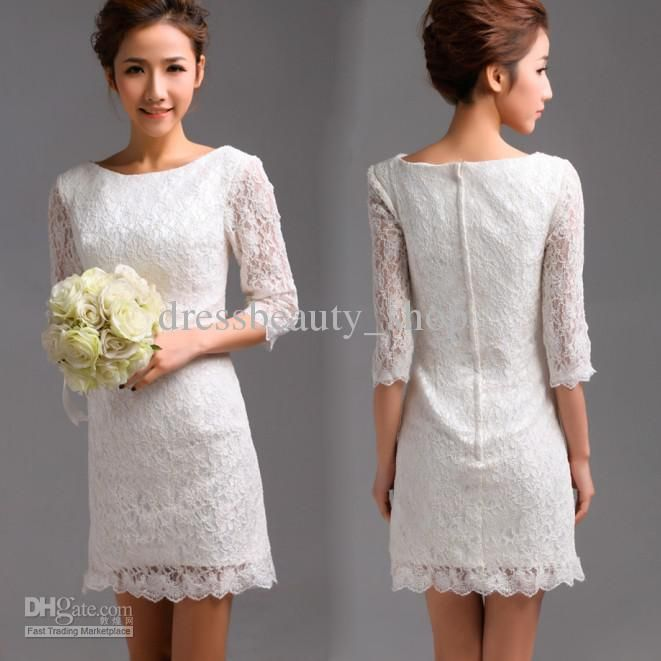 2013 White Lace Little Short Beach Wedding Dresses Vintage Long Sleeves Garen Bridal Reception Gowns