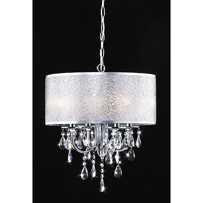 Indoor 4 Light Chrome Crystal White Shades Chandelier For Bathtub Area