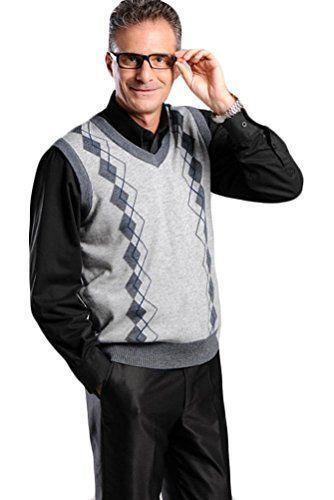 Mordenmiss Men's V-Neck Sweater Vest Spring Knit Pullover L Light Gray ** More details @