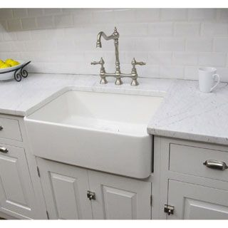 Highpoint Collection White 24 Inch Single Bowl Rectangle Italian Fireclay Farmhouse Ki Farmhouse Sink Kitchen White Farmhouse Sink White Kitchen Farmhouse Sink