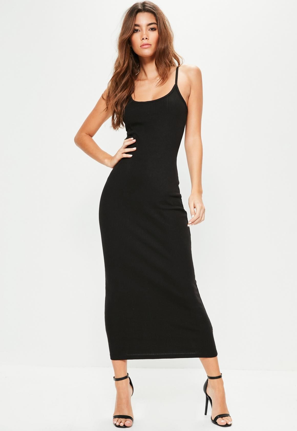 Bring It Back To Basics And Look Effortless With This Black Maxi Dress Featuring Ribbed Fabric Black Ribbed Midi Dress Body Con Dress Outfit Trending Dresses [ 1680 x 1160 Pixel ]
