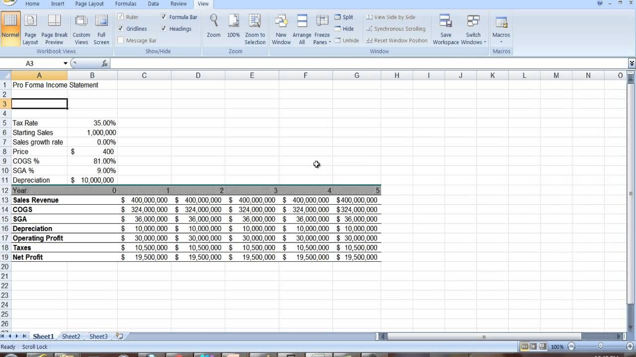 Proforma Income Statement In Excel  Professional