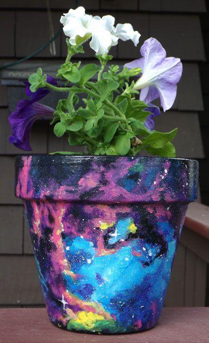 Handpainted Galaxy Flower Pot Flower Pot Art Flower Pots Plant Pot Diy