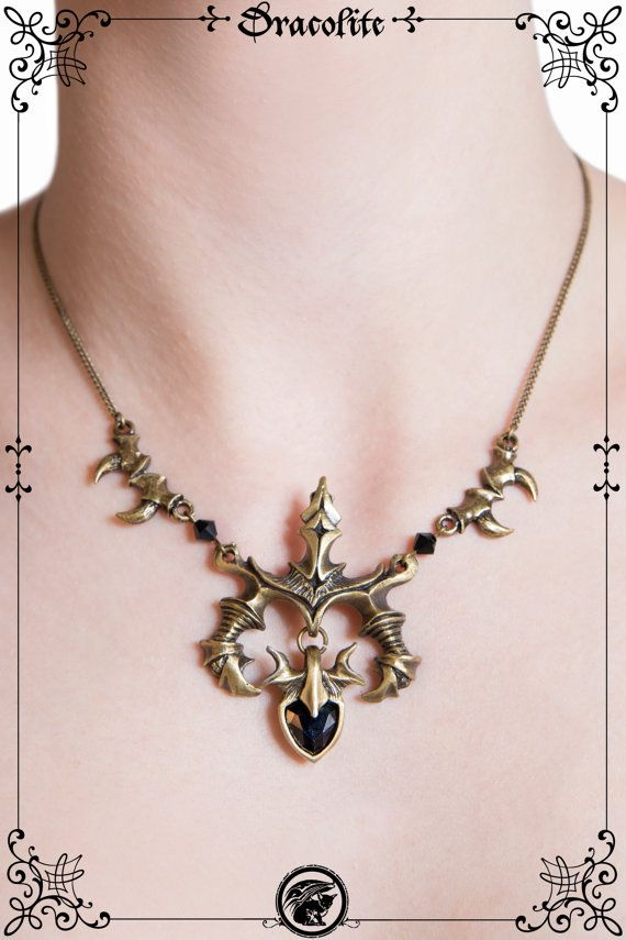 Gothic heart wings vampire fang Victorien necklace by Dracolite, $75.00