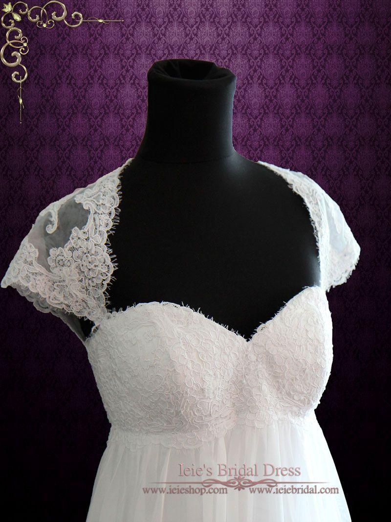 Empire Chiffon Wedding Dress with Cap Sleeves and Keyhole Back | Ieie's Bridal Wedding Dress Boutique