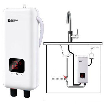220V 5500W Mini Tankless Electric Instant Hot Water System Bathroom Kitchen  Faucet Tap Water Heate