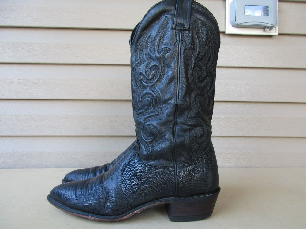 e234d61582f J. CHISHOLM Lizard Black Leather Cowboy Boots Mens 9.5 D USA ...