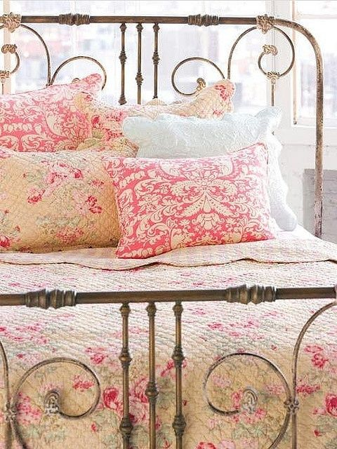 i love old iron beds and pink floral quilts if the hubby gets his game room i get my pink shabby chic bedroom throw pillow mix