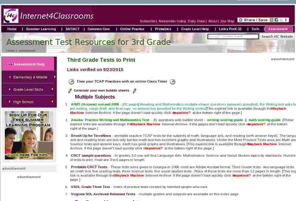 Assessment test resources for 3rd grade, Practice Exams to print ...