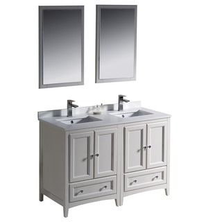 Delightful Fresca Oxford 48 Inch Antique White Traditional Double Sink Bathroom Vanity  By Fresca