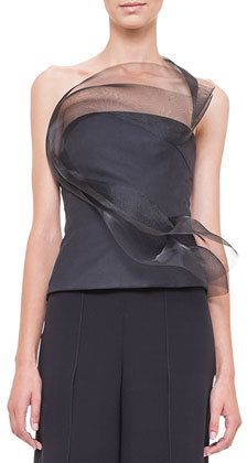 Akris Tulle Wave Asymmetric Bustier Top, Black