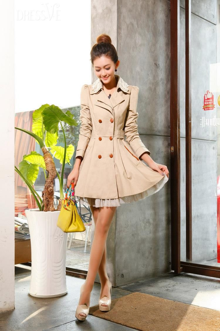 Chic Slim Lace Lapel Double-breasted Gentlewomanly Korean Outwear Trench Coat - $95 http://www.dressve.com/shop-10713243.html