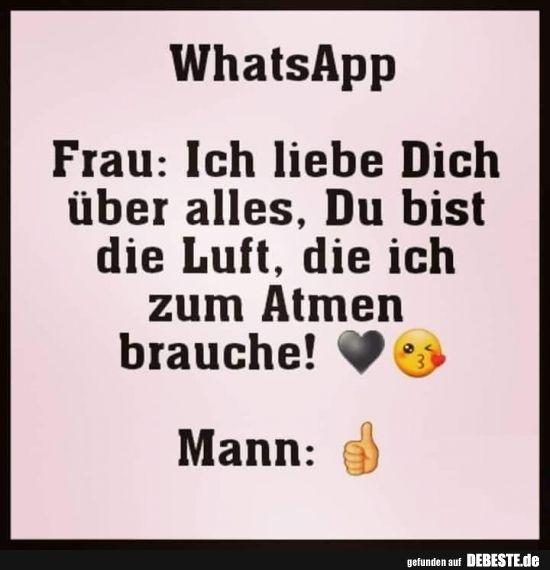 [WhatsApp] Frau: Ich liebe Dich über alles..   Lustige Bilder, Sprüche, Witze, echt lustig