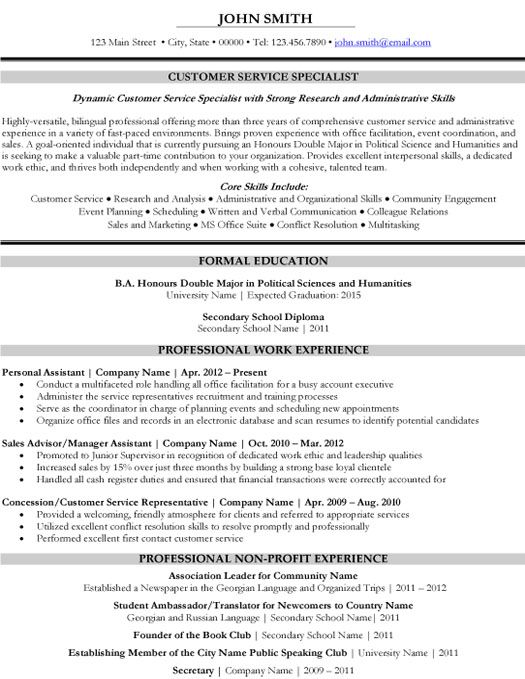 Click Here To Download This Customer Service Specialist Resume Template Http Www Res Customer Service Resume Sample Resume Templates Student Resume Template