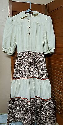 Vintage Womens Dress Brown Off White Floral Leaf  Possibly Handmade Size Small