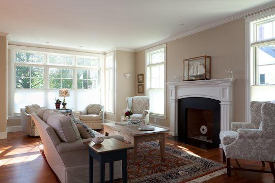 south freeport house living room fireplaceliving - Living Room With Fireplace In Middle