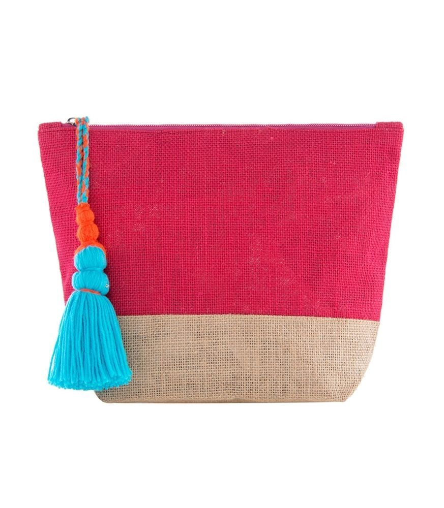 SHIRALEAH MAYA JUTE COSMETIC POUCH CASE BAG ~ PINK with TURQUOISE TASSEL ~ NEW #Shiraleah