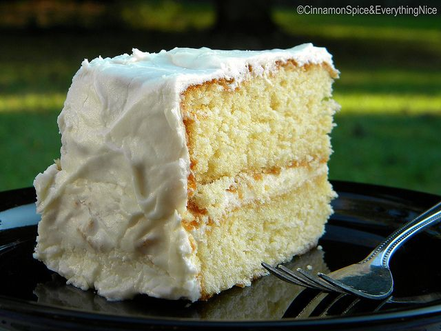 The Best Old Fashioned OneBowl Yellow Cake with cream cheese