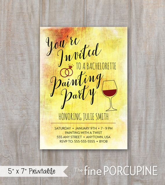 Painting party invites wine and painting canvas party for Wine paint party