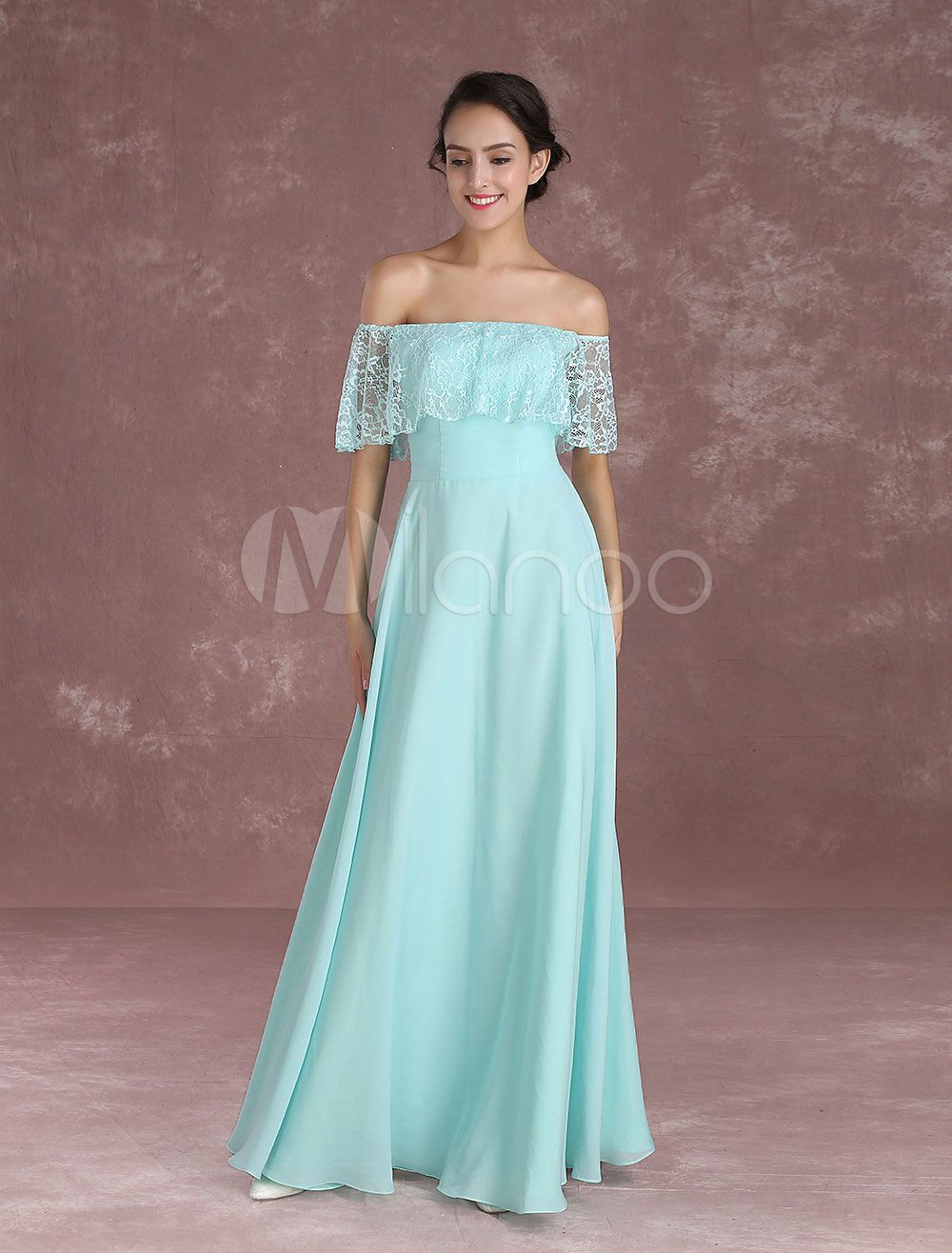 4f2e80cd903 Long Prom Dresses 2018 Off The Shoulder Prom Dress Mint Green Lace Chiffon  Floor Length Evening Dress  Shoulder