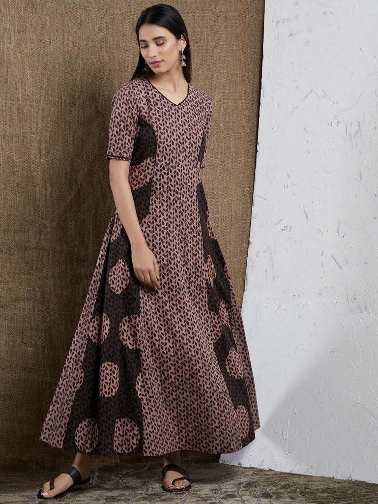 Brown Hand Block Printed Cotton Maxi Dress in 2019  33dd6df51