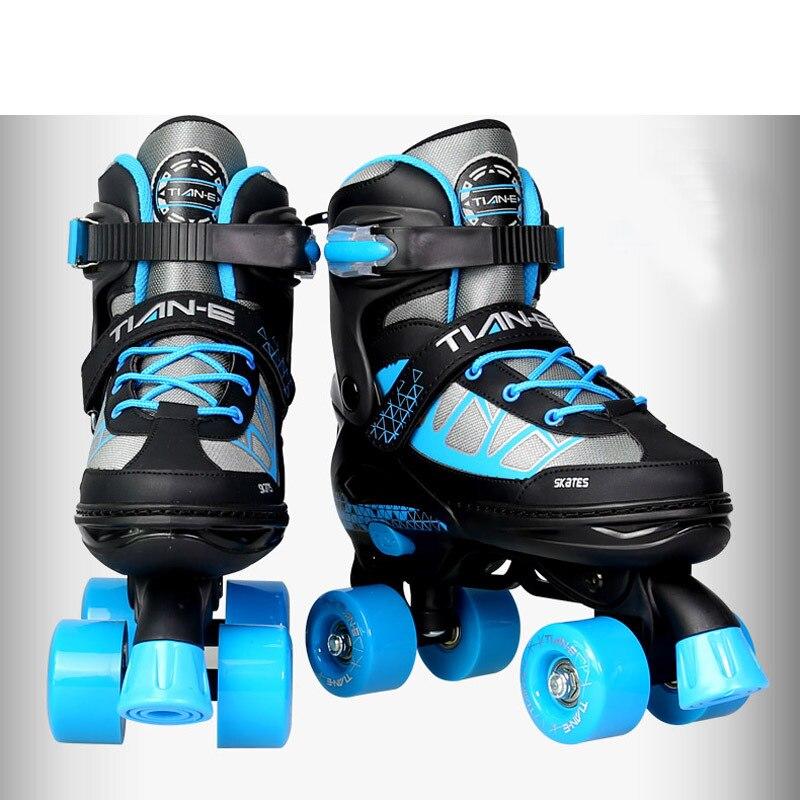 Patines De Doble Línea Para Niños Adultos Patines De 4 Ruedas Patines De Cuatro Ruedas Paralelas Tamaño Ajustable Rue In 2021 Skate Shoes Skate 4 Cheap Skate Shoes