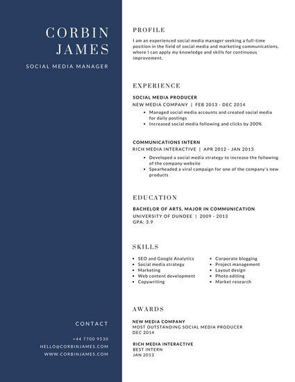 Two Tone Blue And White Corporate Resume Online Resume Resume Template Resume Templates