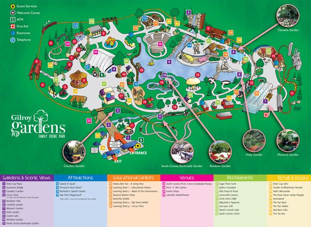 Map Of Gilroy Gardens A Modern Day Vauxhall With Classic Rides Shaped Like Fruits And