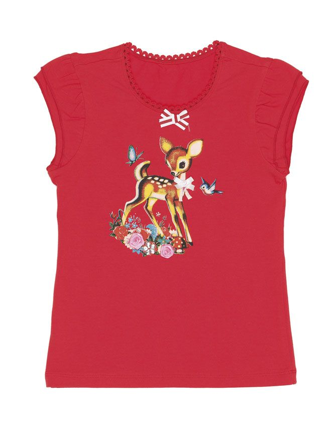Mi-Pi t-shirt rood 'Sweet Deer'