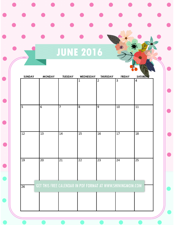 pretty printable calendars for june free calendars pinterest