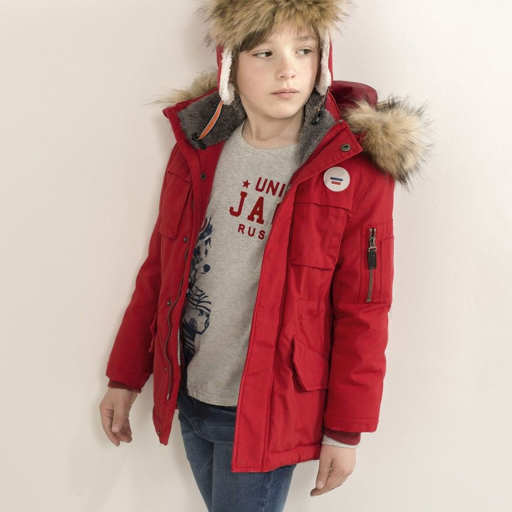 2264a319d IKKS - Boys Red Padded Parka Coat