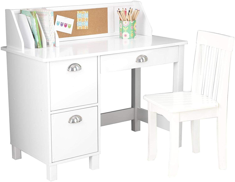 Amazon Com Kidkraft Kids Study Desk With Chair White Toys Games Kids Study Desk Desk With Drawers Kid Desk