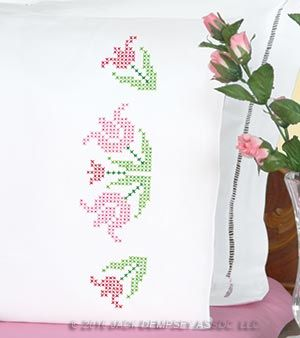 Pillowcase Flower Design: XX Lace Tulips Pillowcases   Jack Dempsey Needle Art   Cross    ,