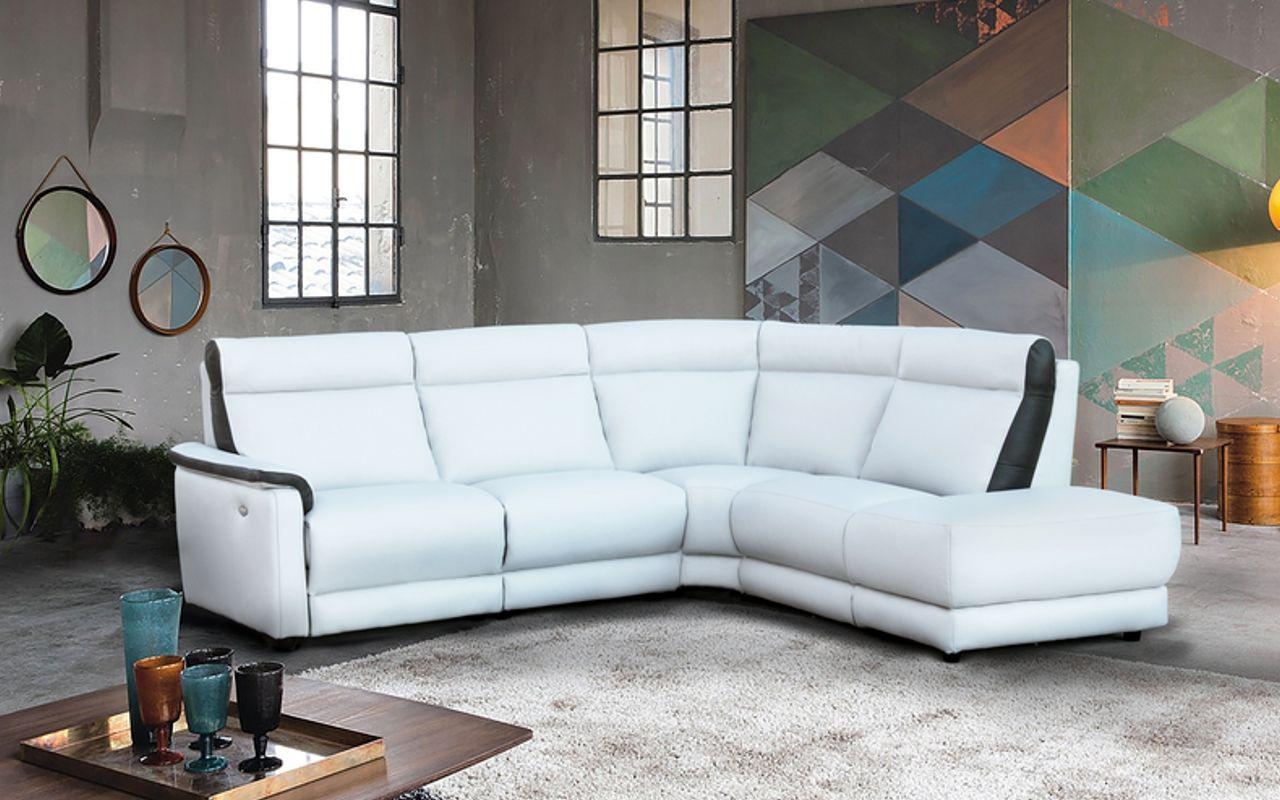 Modèle JONAS, salon d\'angle contemporain élégant en cuir épais blanc ...