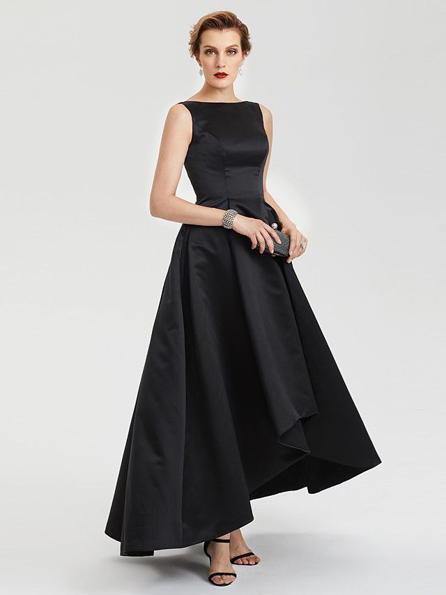 2017 TS Couture Evening Party Formal Dress - Little Black Dress A-line Boat  Neck Asymmetrical Satin with Pleats - USD  116.99 ! HOT Product! 7e6ae9bbef
